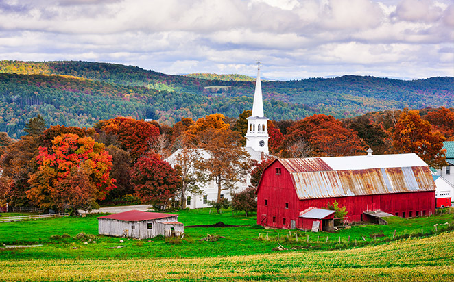 A Vermont Town and Red Barn