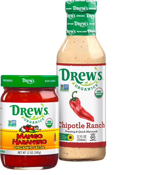 Drew's Organics Dressing and Salsa Bottles