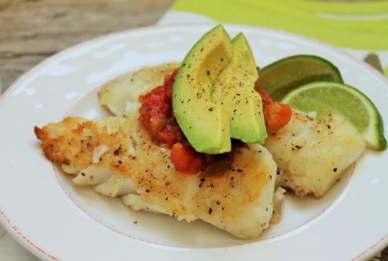 Sautéed Cod with Avocado and Mango Habanero Salsa