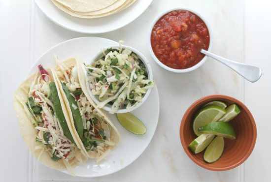 Fish Tacos with Cilantro Slaw and Mango Habanero Salsa