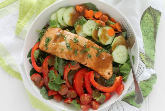 Shiitake Ginger Grilled Salmon Salad