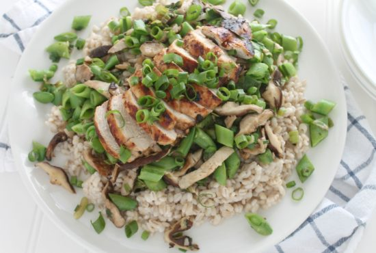 Grilled Thai Coconut Sesame Chicken with Vegetables and Barley