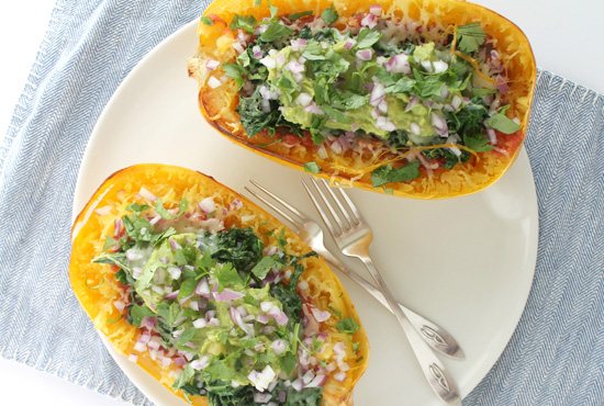 Ancient Grains and Kale Spaghetti Squash Boats