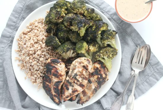 Honey Dijon Grilled Chicken and Broccoli with Farro