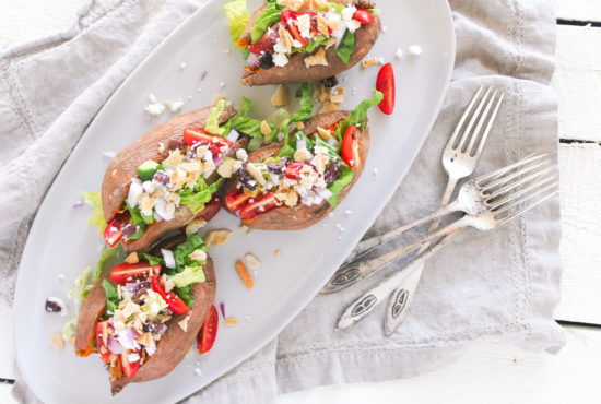 Greek Salad Stuffed Sweet Potatoes