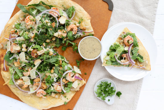 Grilled Shrimp Caesar Salad Pizza