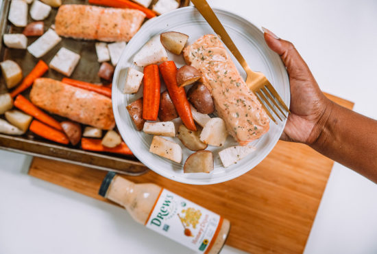 One Pan Honey Dijon Salmon and Root Vegetables