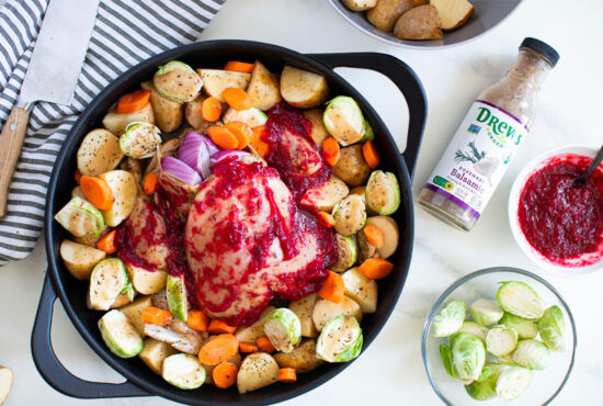 Cranberry Rosemary Balsamic Roasted Chicken & Veggies