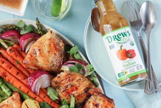 Grilled Chicken Thighs & Spring Veggies