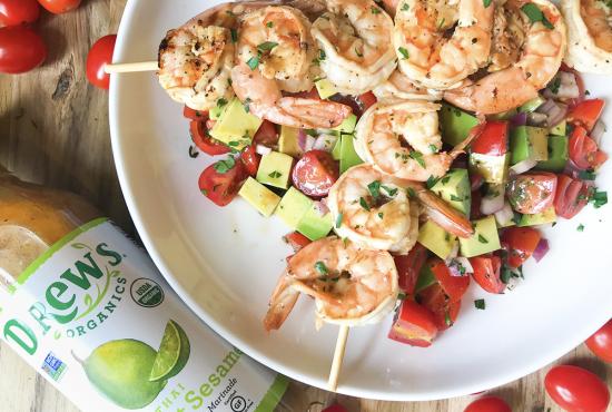 Thai Coconut Shrimp Skewers with Avocado Tomato Salad
